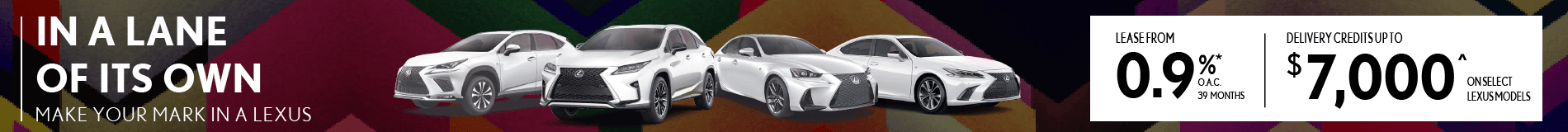 Delivery Credits up to $7000 on select Lexus Models.
